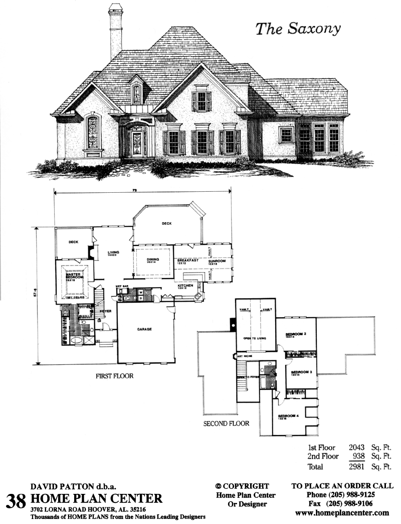 Home plan center 1 1 saxony for One and one half story house plans