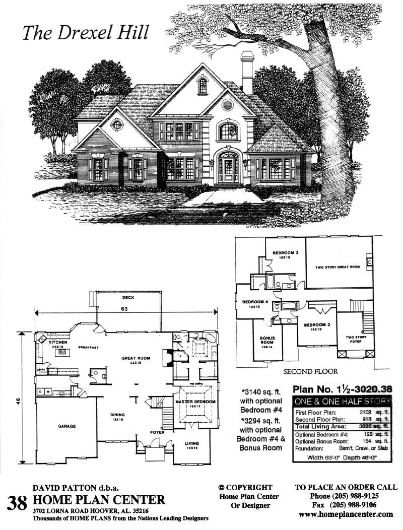 Home plan center 1 1 drexel hill for One and one half story house plans