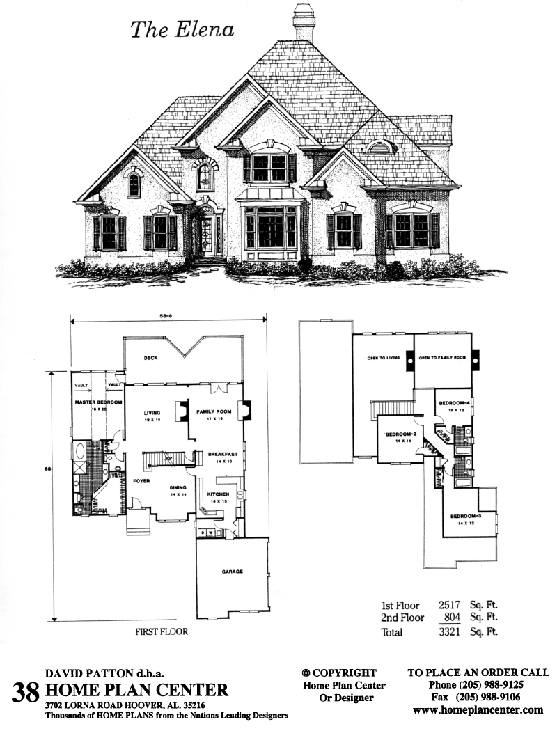 Home plan center 1 1 elena for One and one half story house plans