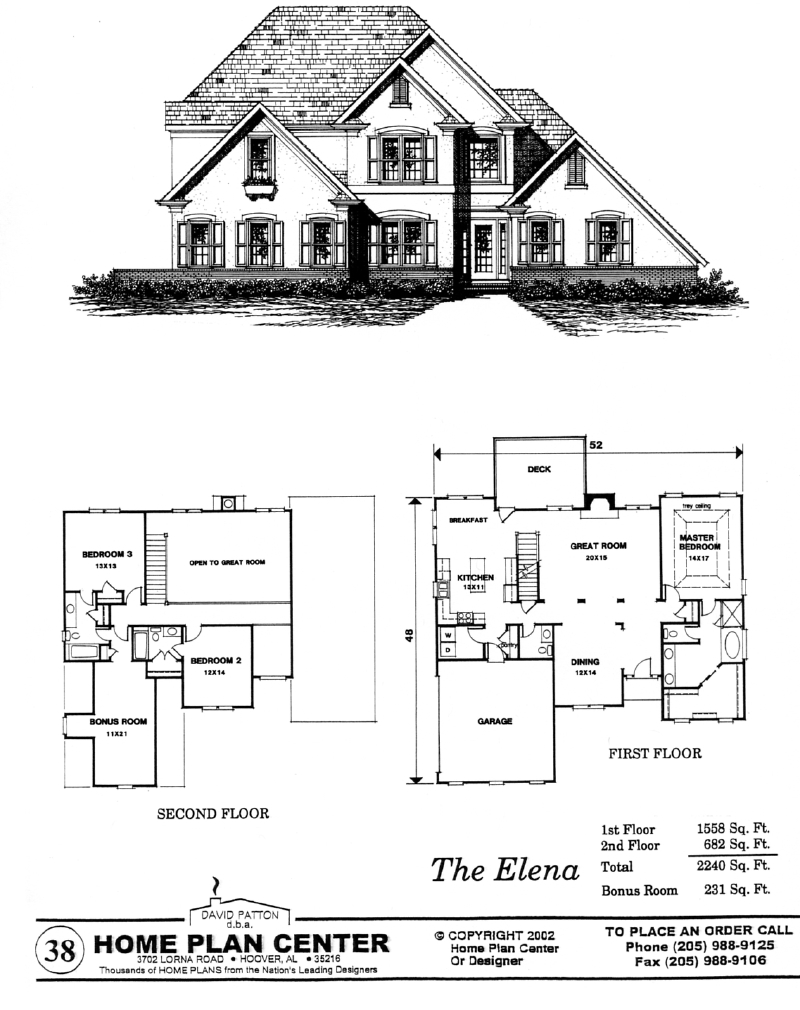 Home plan center 1 1 elena for House plans 1 1 2 story