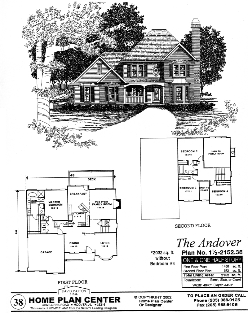 Home plan center 1 1 andover for One and one half story house plans