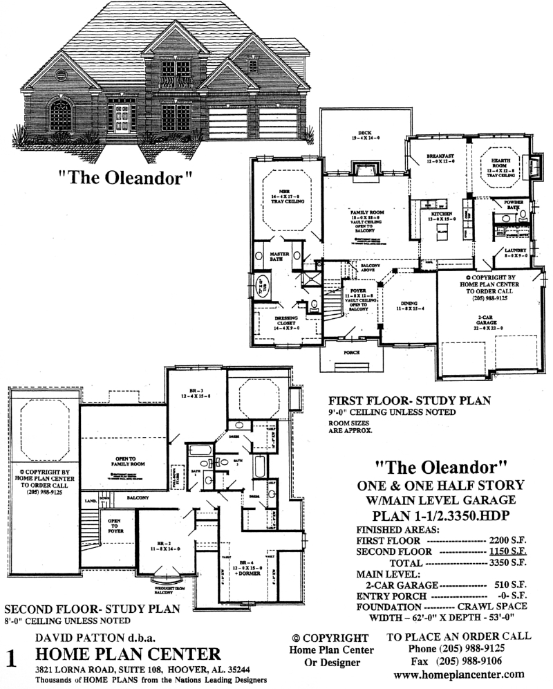 Home plan center 1 1 oleandor for One and a half story homes