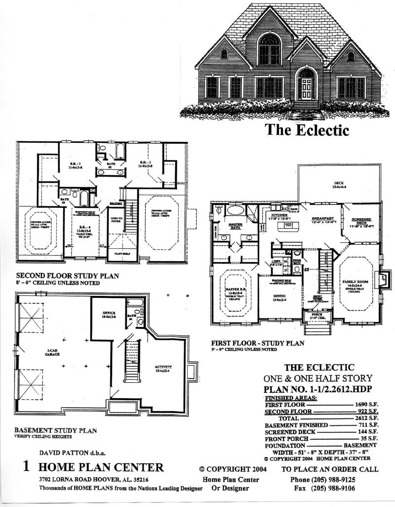 Home plan center 1 1 2 2612 eclectic for One and one half story house plans