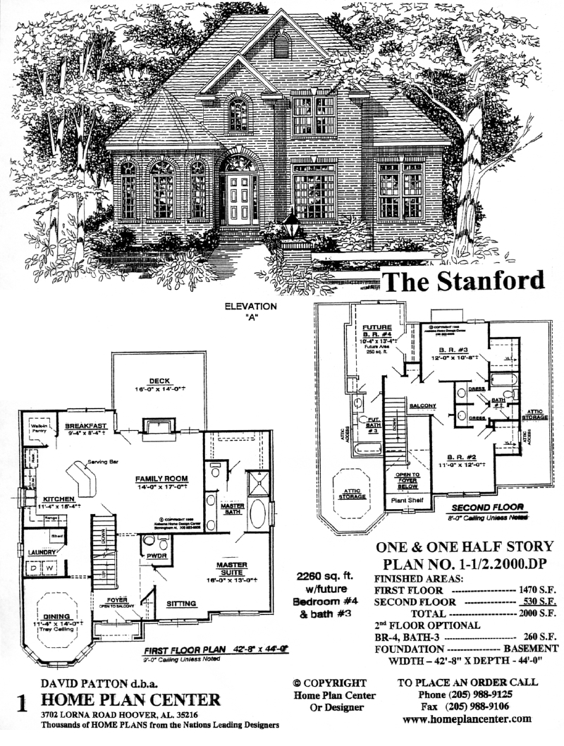 Home plan center 1 1 stanford for One and one half story house plans