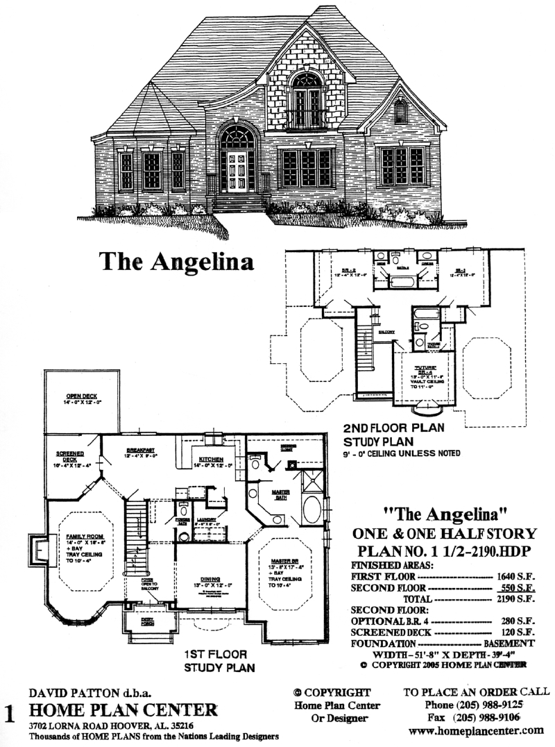 Home plan center 1 1 angelina for One and one half story house plans