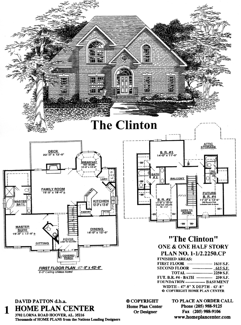 Home plan center 1 1 2 2250 cp clinton for One and a half story homes