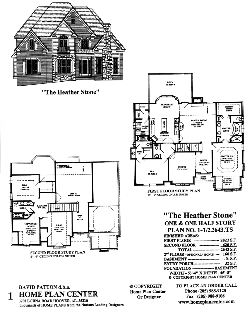 Home plan center 1 1 2 2643 ts heather stone for One and a half story homes