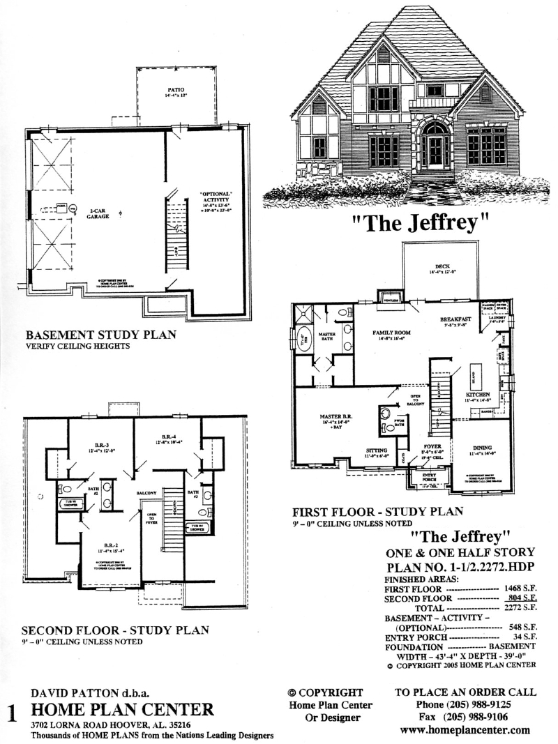 Home plan center 1 1 2 2272 jeffrey for One and a half story house plans