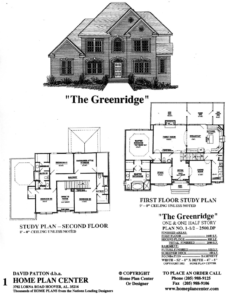 Home plan center half2500 dp greenridge for One and a half story homes