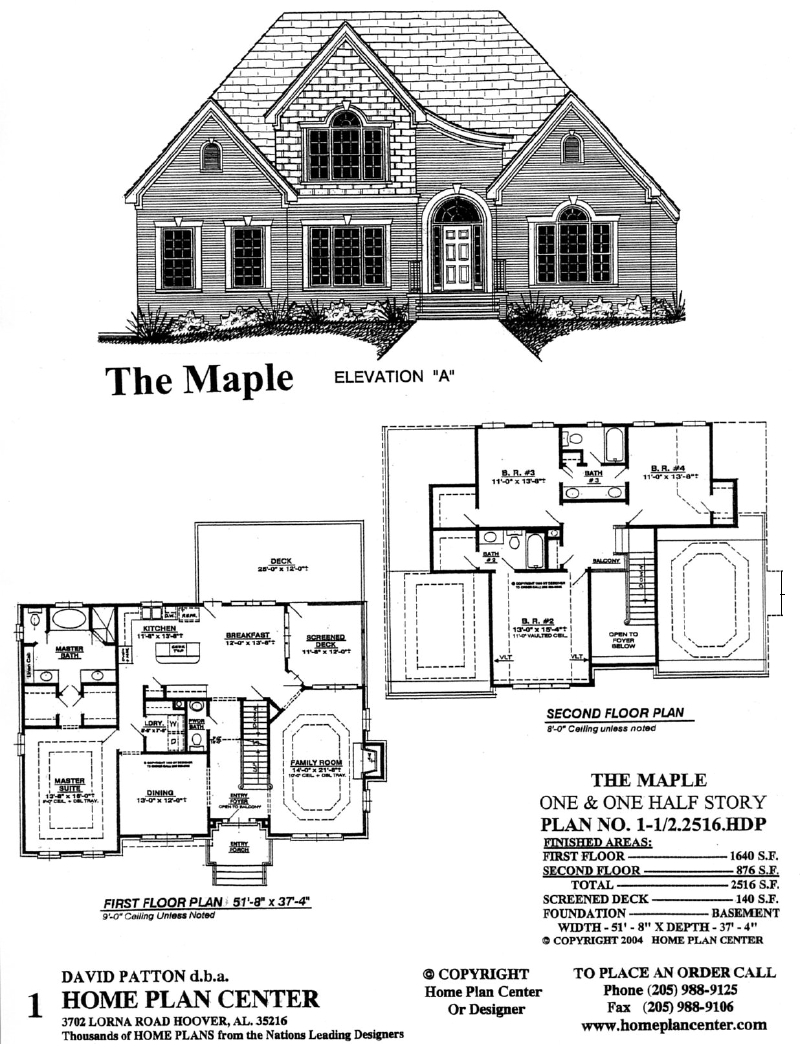Home plan center 1 1 2 2516 maple for One and one half story house plans