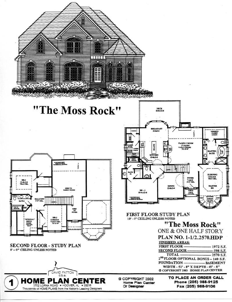 Home plan center half2570 moss rock for One and one half story house plans
