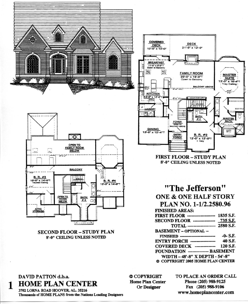 Home plan center 1 1 2 jefferson for One and one half story house plans