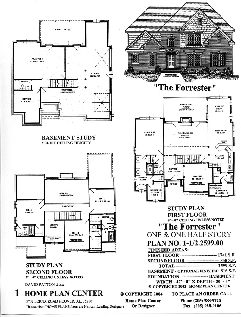 Home Plan Center Half2599 Forrester