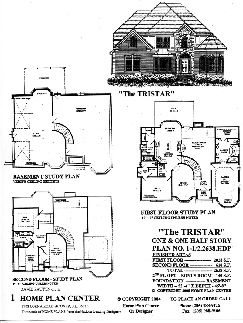 Home plan center 1 1 2 2638 tristar for One and a half story homes