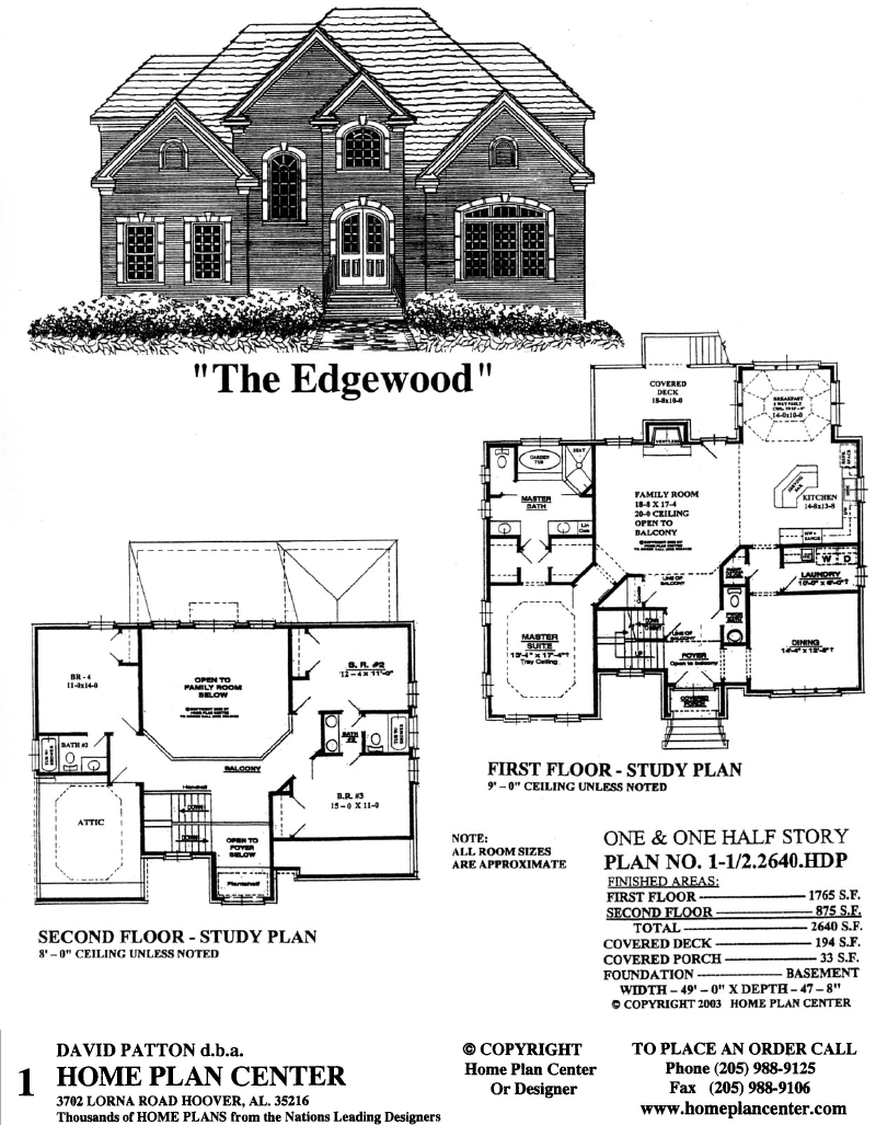 Home plan center 1 1 2 2640 edgewood for One and a half story homes
