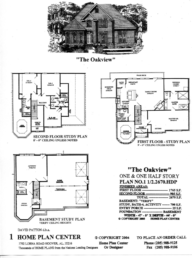 Home plan center 1 1 2 2670 oakview for One and one half story house plans