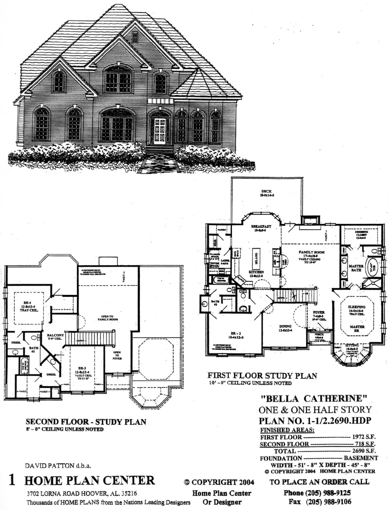 Home Plan Center 1 1 2 2690 Bella Catherine