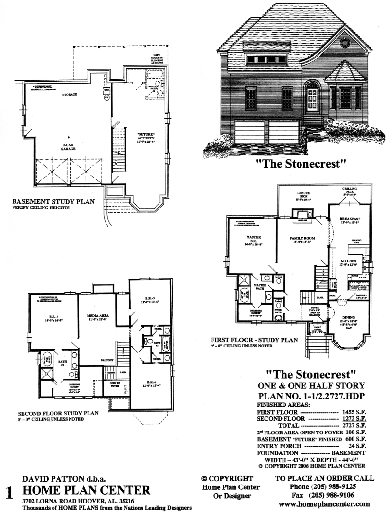 Home plan center 1 1 2 2727 stonecrest for One and one half story house plans