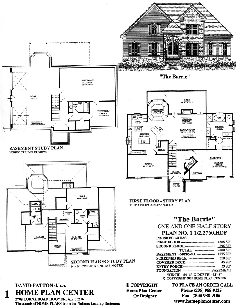 Home plan center 1 1 2 2760 barrie for One and one half story house plans