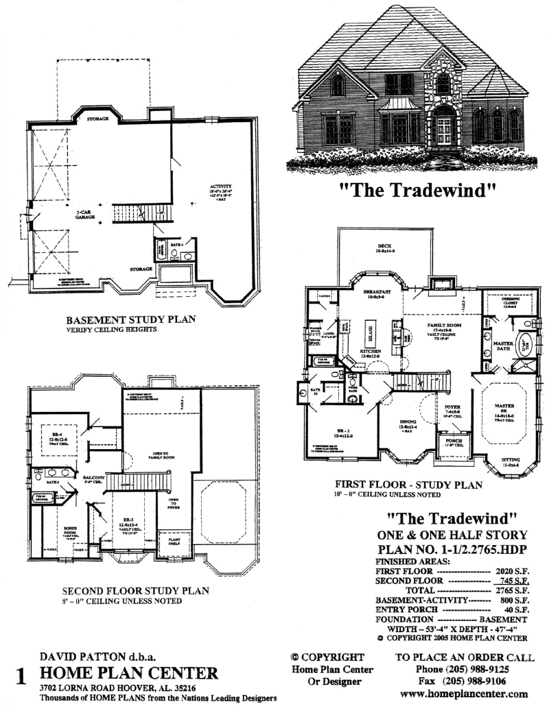 Home plan center 1 1 2 2765 tradewind for One and one half story house plans