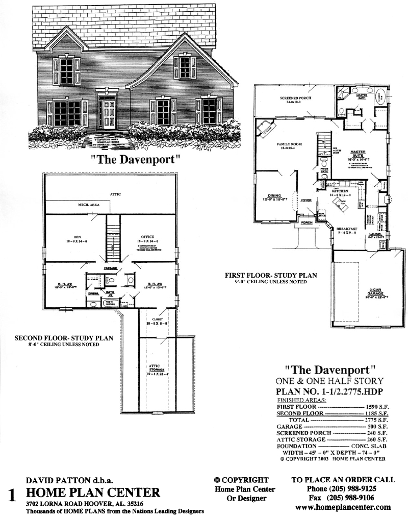Home plan center 1 1 2 2775 davenport for One and one half story house plans