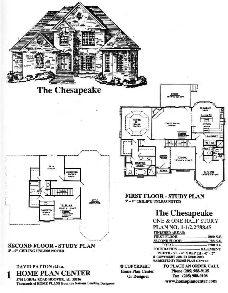 Home plan center 1 1 2 chesapeake for One and a half story house plans
