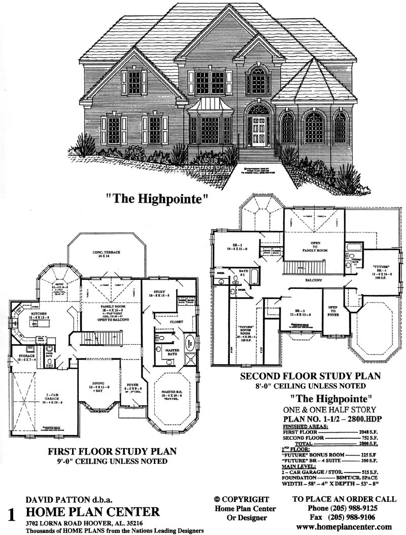 Home plan center 1 1 2 2800hdp highpointe for One and one half story house plans