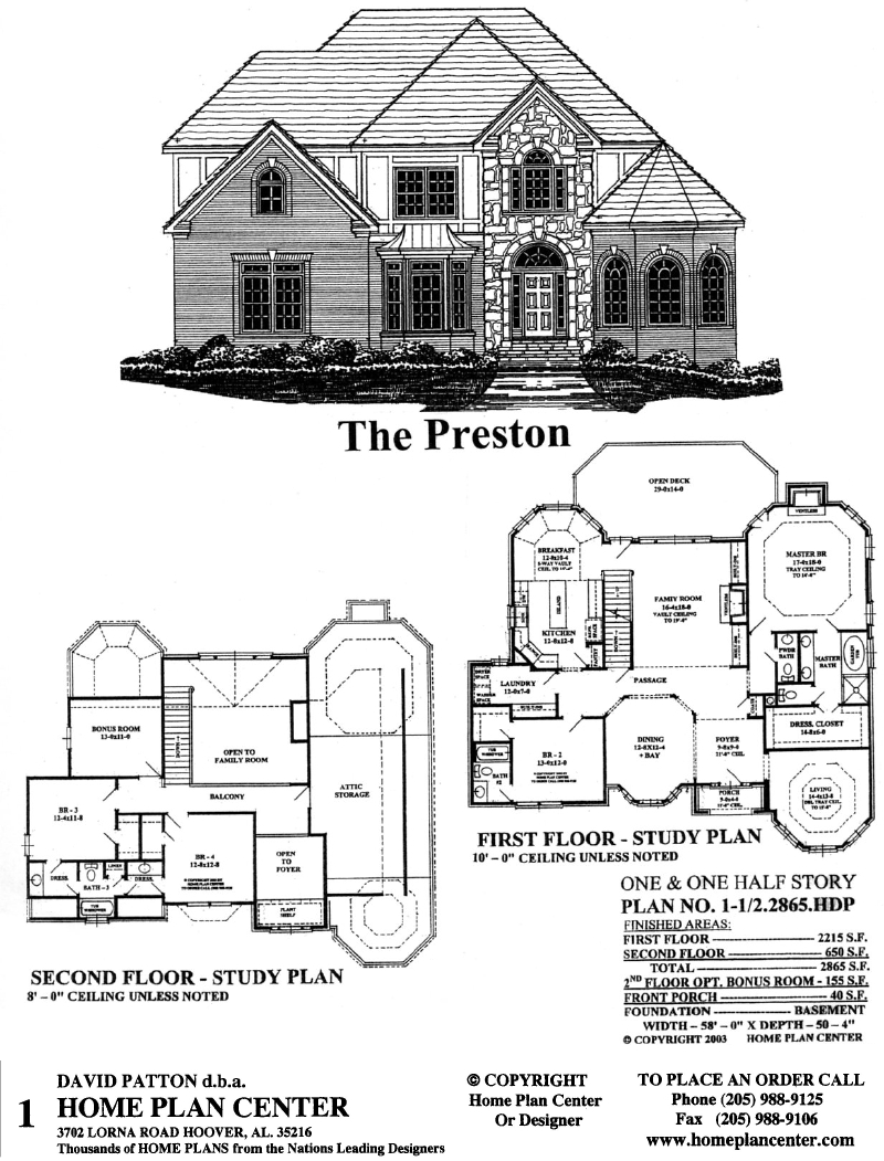Home plan center 1 1 2 2865 preston for 1 1 2 story floor plans