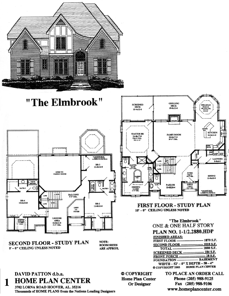 Home plan center 1 1 2 2880 elmbrook for One and a half story homes
