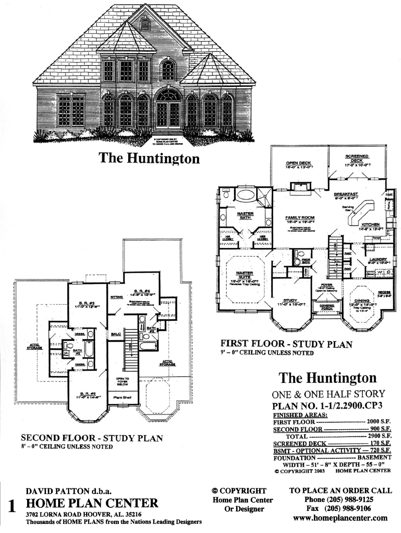 Home plan center 1 1 2 2900 cp3 huntington for One and a half story homes