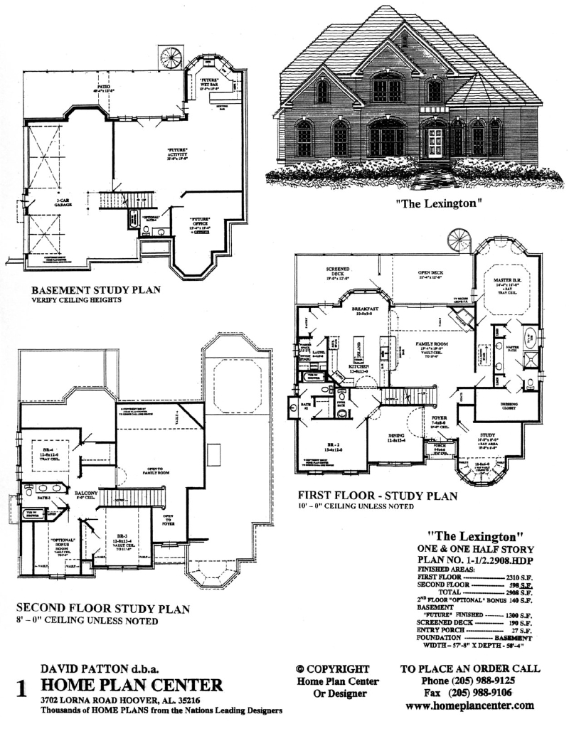 Home plan center 1 1 2 2908 lexington for One and one half story house plans