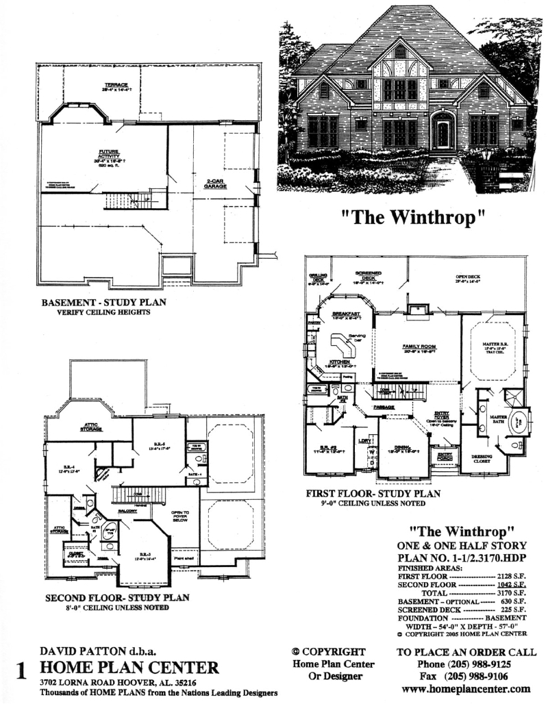 Home plan center 1 1 2 3170 winthrop for 1 1 2 story floor plans