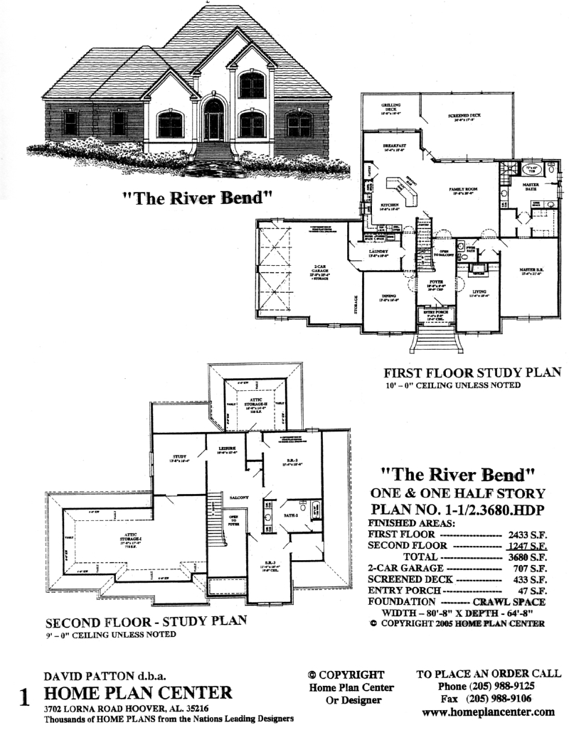 Home plan center 1 1 2 3680 river bend for 1 1 2 story floor plans