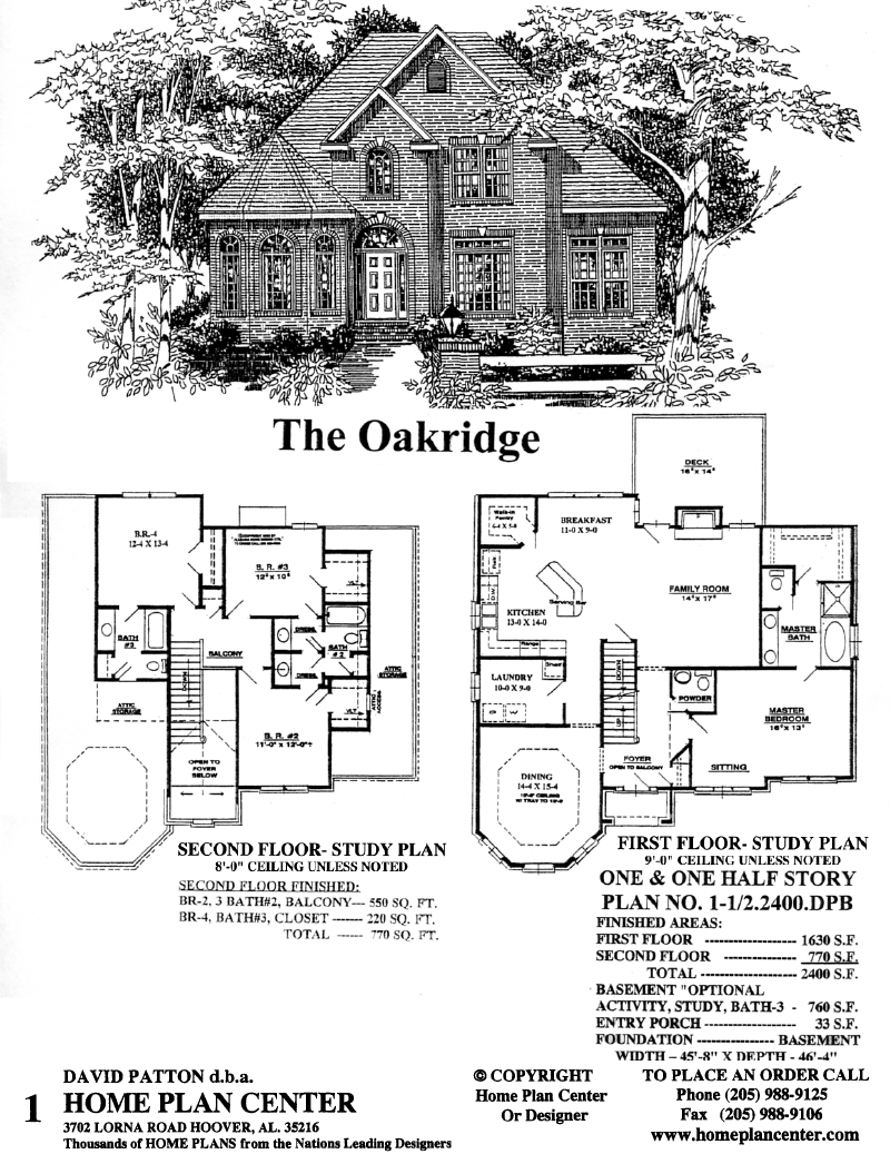 Home plan center 1 1 oakridge for Story and a half house plans