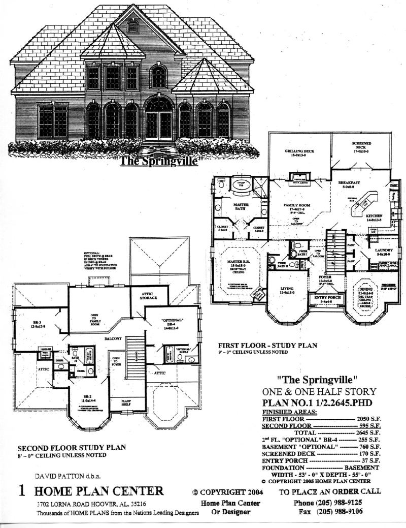 Home plan center 1 1 2 2645 springville for 1 1 2 story floor plans