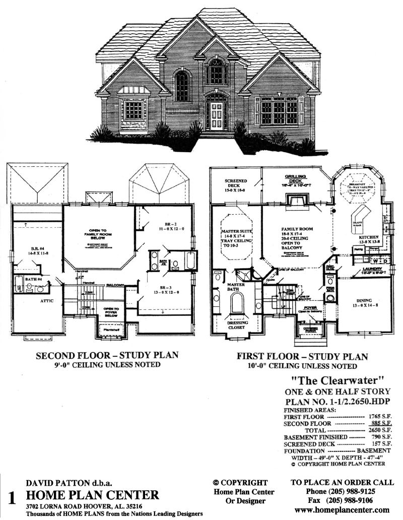 Home plan center 1 1 2 2650 clearwater for One and one half story house plans