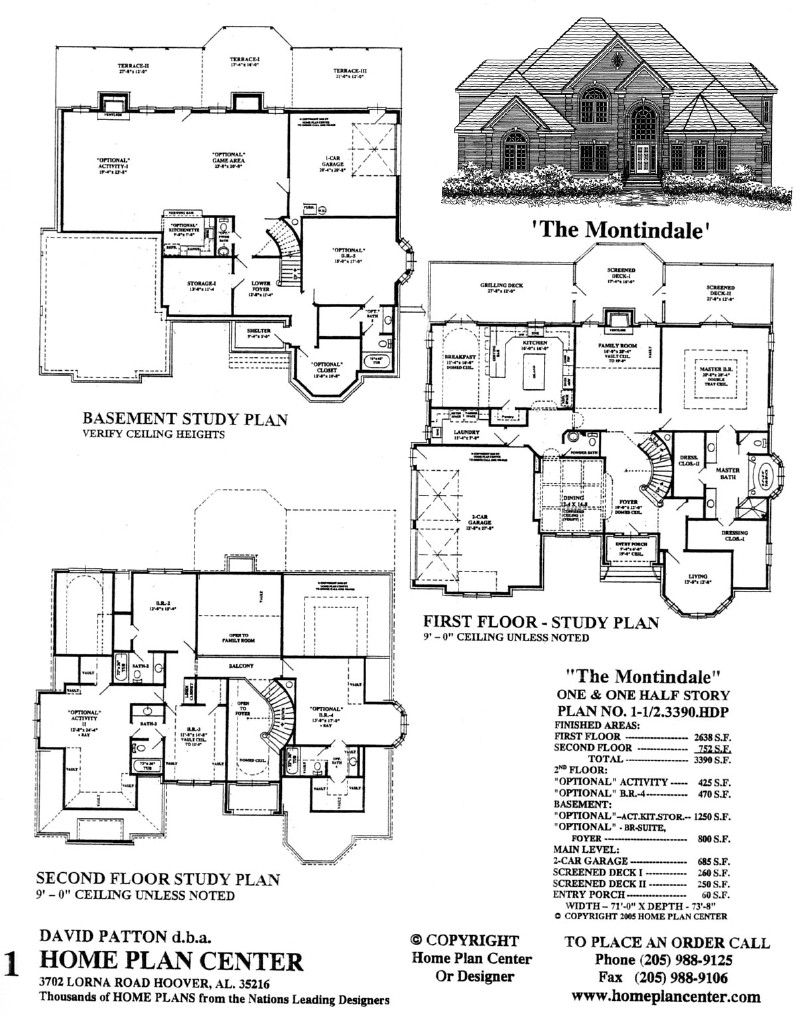 Home plan center 1 1 2 3390 montindale for One and one half story house plans